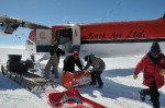 Ice core boxes being loaded onto plane