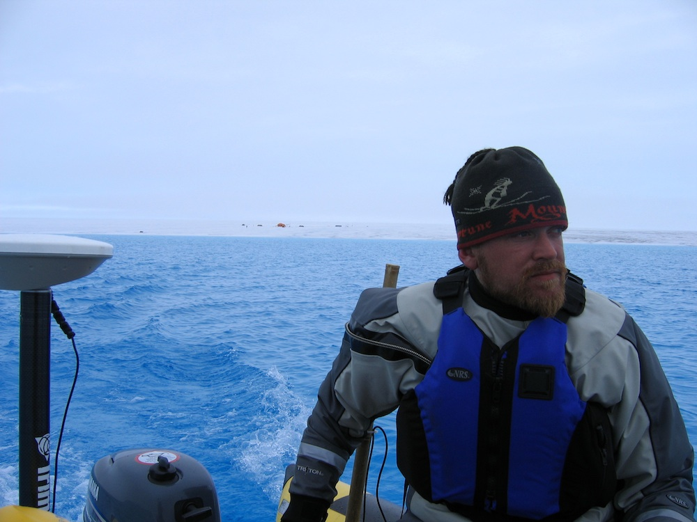 Jason Box during Greenland melt lake survey